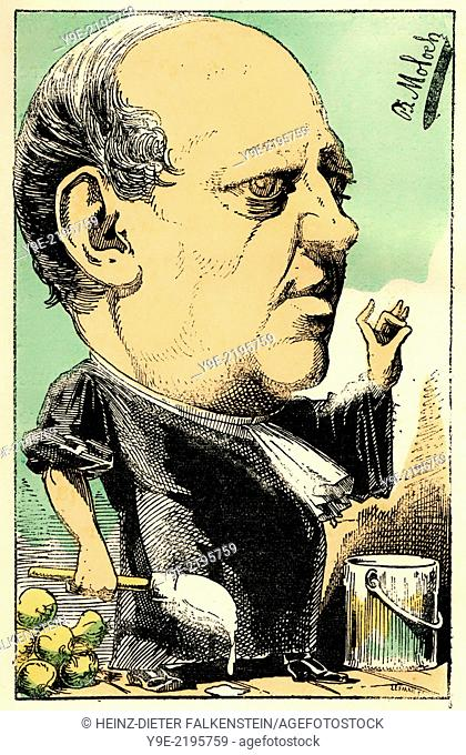 Charles Lachaud, 1817 - 1882, a French lawyer, Political caricature, 1882, by Alphonse Hector Colomb pseudonym B. Moloch, 1849-1909, a French caricaturist