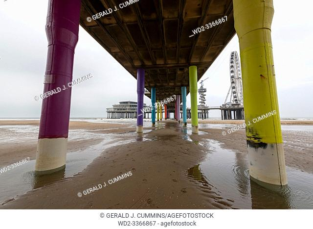 Scheveningen, The Hague, Netherlands, APRIL 04 2018 - Winter Scheveningen Pier