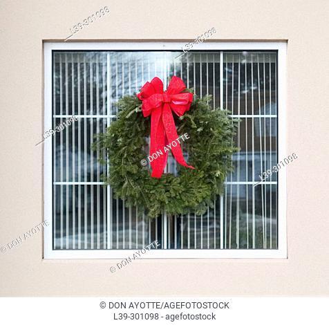 Christmas wreath on bank building