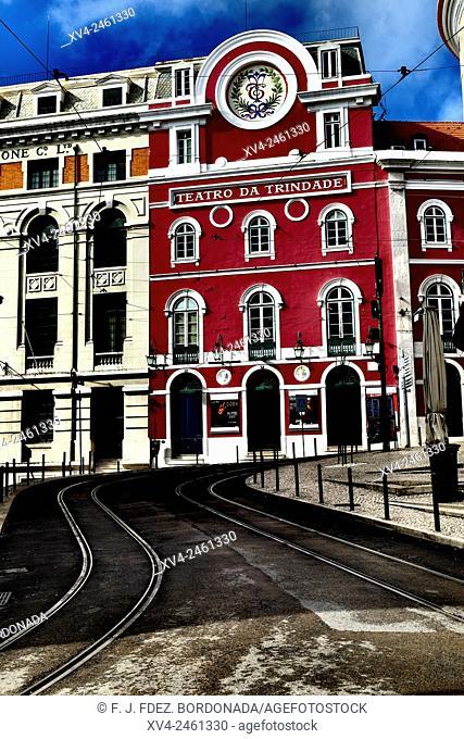 Trindade Theatre facade, Chiado, Lisbon, Portugal