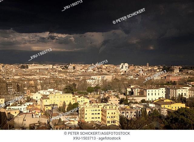 dark clouds over central Rome, Italy, Europe