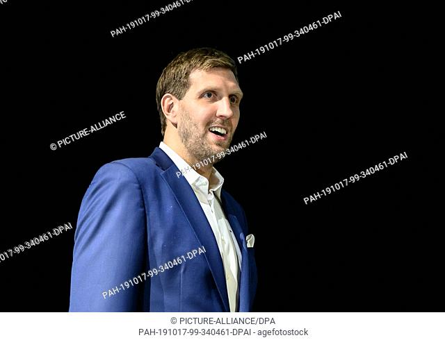 17 October 2019, Hessen, Frankfurt/Main: The retired basketball star Dirk Nowitzki is standing at a photo shoot in the Schauspielhaus on the occasion of the...