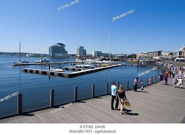 Promenade along Mermaid Quay, Cardiff Bay, Cardiff, Wales, United Kingdom, Europe