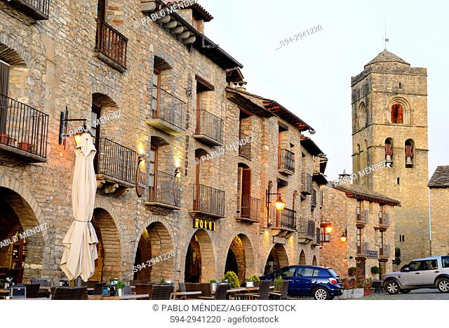 Main square and Santa Maria church of Ainsa, Huesca, Spain