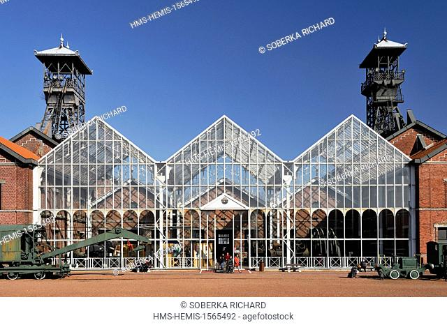 France, Nord, Lewarde, Mining History Centre listed as World Heritage by UNESCO, glass of machines in the main courtyard