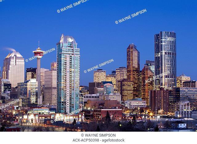 New skyline featuring the new Bow Building, Calgary, Alberta, Canada