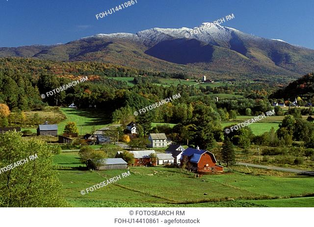 Vermont, Scenic view of Mt.Mansfield and the countryside of Cambridge in the fall. First snow on top of the mountain