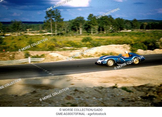 Action view of Mr. Chuck Daigh driving at speed in the right handed RAI Reventlow Scarab Mk, August 17, 1958. II No. 5 during the Sports Car Club of America's...