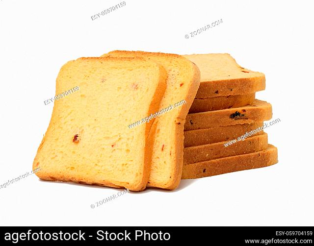 sliced white wheat flour loaf with tomatoes. Square pieces for sandwich isolated on white background