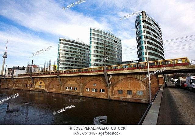 View of new office buildings from river Spree, Berlin, Germany