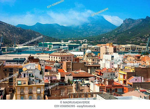 Aerial view of Cartagena, Spain. City port, historical part and mountains at the background. Popular touristic summer resort
