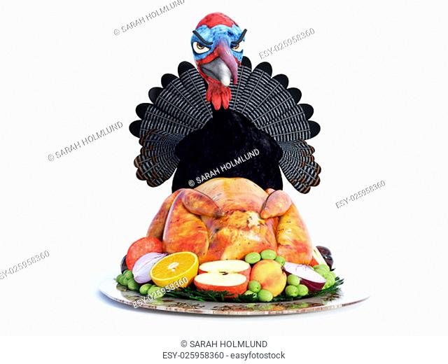A silly cartoon turkey looking angry over a roasted turkey on a thanksgiving platter. White background