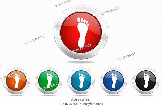 foot round glossy icon set, colored circle metallic design internet buttons