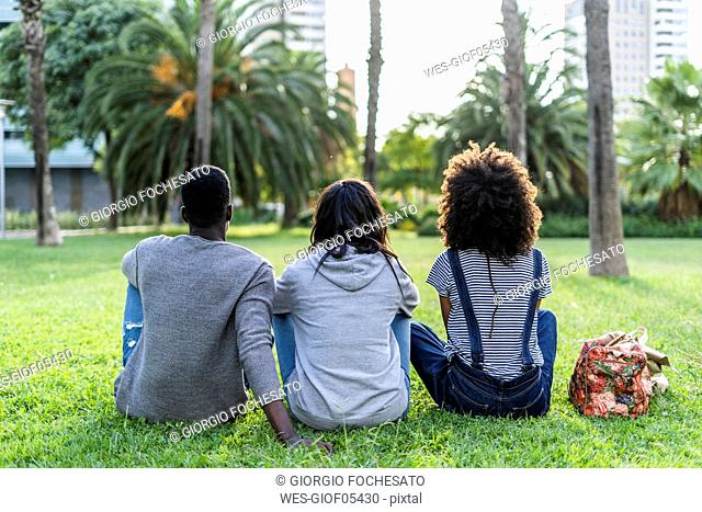 Three friends sitting in a park, watching the sunset