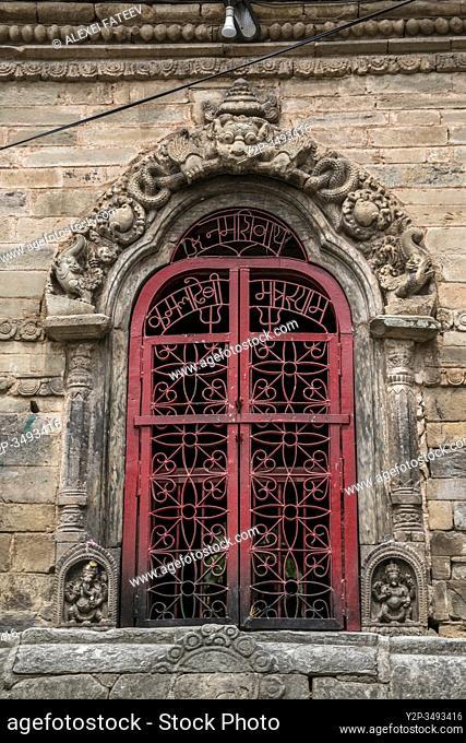 Ornate door at Durbar Square in Kathmandu, Nepal