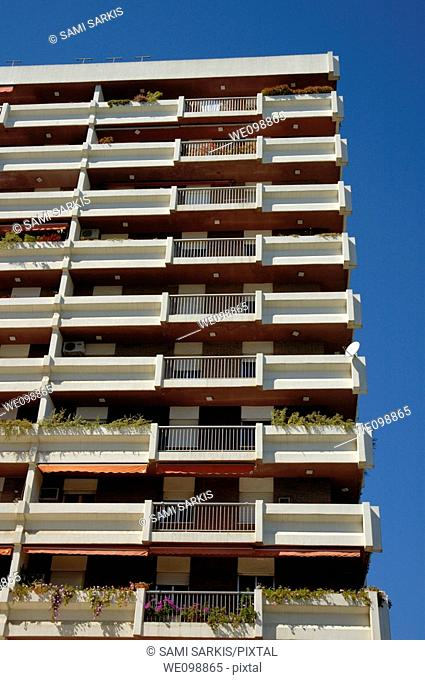 Balconies of the apartments facing the Feria de Abril, Seville, Andalusia, Spain