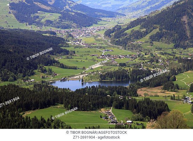 Austria, Alps, Tyrol, Kitzbühel, Schwarzsee, lake, landscape,