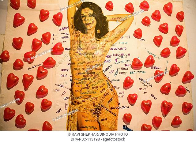 Poster of actress with comment and red balloons