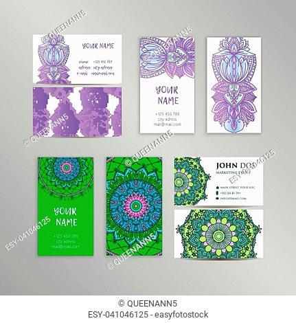 Vector vintage business cards big set. Islam, Arabic, Indian, ottoman motifs