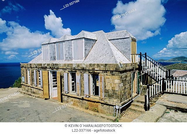 Old building for surveying the sea. Shirley Heights. Antigua island. Antigua and Barbuda. West Indies. Caribbean