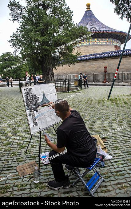 A painter works on a painting at Temple of Heaven in Beijing, China on 14/09/2021 An imperial complex of religious buildings is on of the landmarks of Chinese...