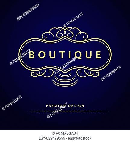 Vector illustration of Monogram design elements, graceful template. Elegant line art logo design. Business sign, identity for Restaurant, Royalty, Boutique