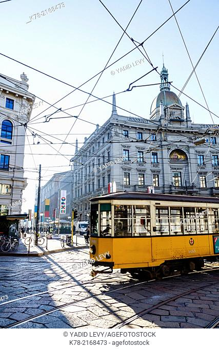 Tram at Piazza Cordusio in the city centre, Milan, Italy