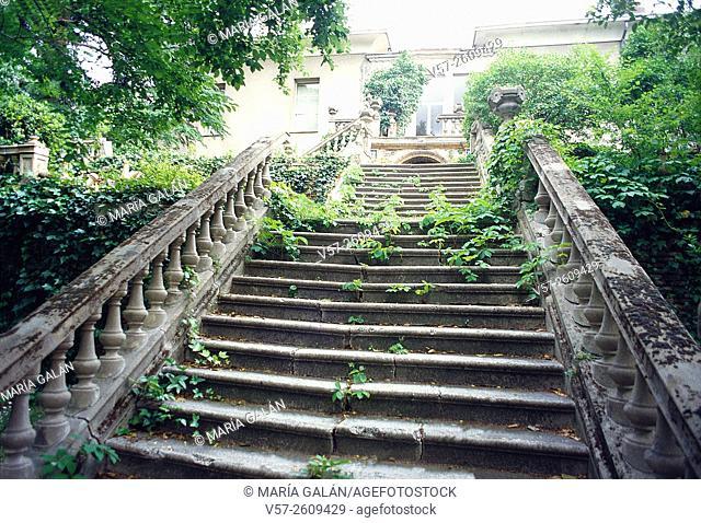 Stairs in ruins. Fuente del berro park, Madrid, Spain