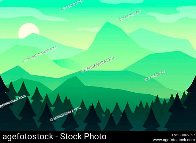 Mountain landscape green wallpaper with mountain. Morning landscape, sunrise in the mountains, panoramic view with hill and forest