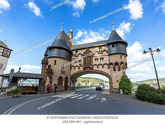 20th century Brueckentor (Bridge Gate) in the picturesque village of Traben-Trabach, Rhineland-Palatinate, Germany, Europe