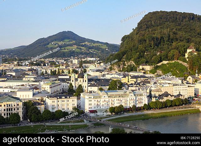View from the Mönchsberg to the Holy Trinity Church and the Salzach, Salzburg, Land Salzburg, Austria, Europe