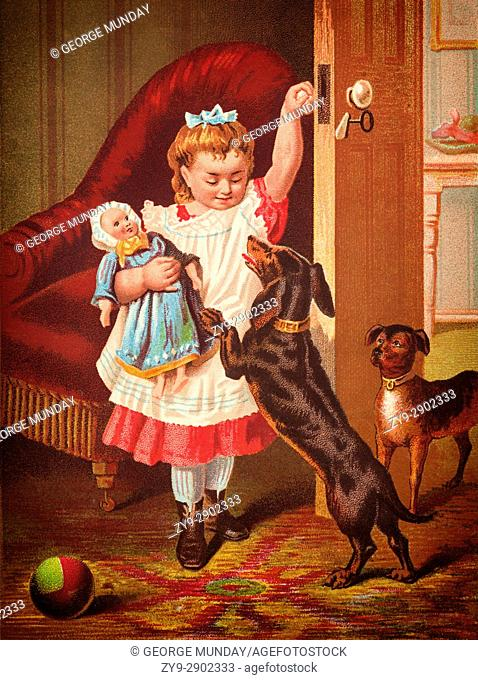 A young girl, doll and two dogs, England. A Trade Card by Riddle and Couchman entitled ''Good Morning''