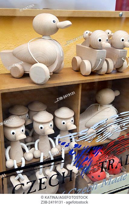 Traditional Czech handmade wooden toys in a shop window, Prague, Czech Republic, Europe