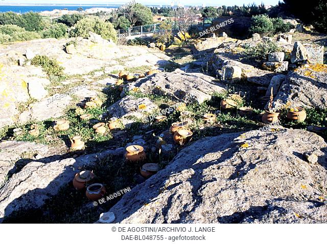 Ash urns, Tophet of the ancient city of Sulci, Sardinia, Italy. Punic civilisation