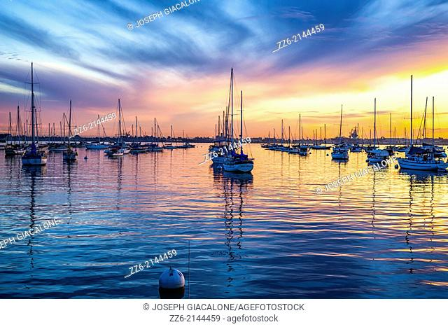 San Diego Harbor with vibrant sunset. San Diego, California, United States
