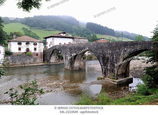 Romanesque bridge in Sumbilla, Navarre, Spain