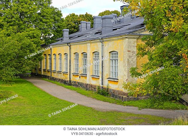 Historic building Pieni Palmstierna or Palmstierna Studio in Suomenlinna, Finland. Suomenlinna is an UNESCO World Heritage Site