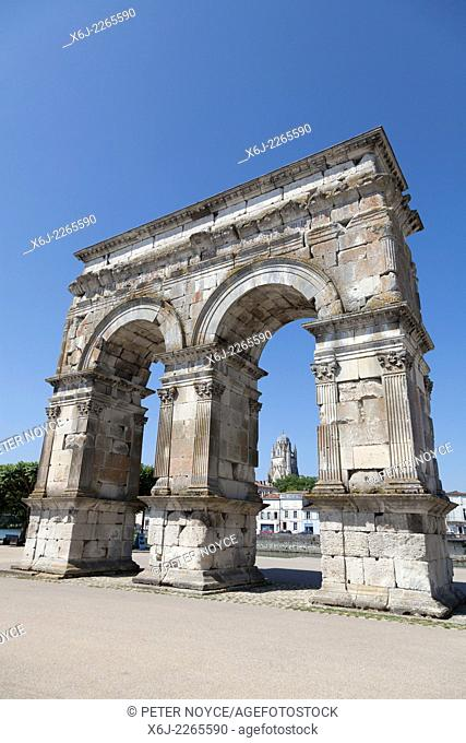 Arch of Germanicus in Saintes with the Cathedral of Saint Peter