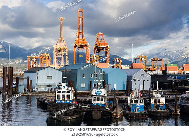 Tugboats waiting for work close to the Port Vancouver container dock