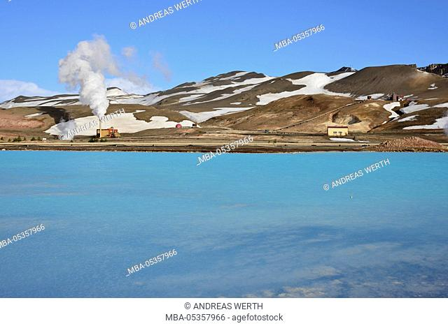 Bjarnarflag geothermal power plant, near Lake Myvatn, hot steam, snow, winter, Iceland, Lake Myvatn area, Northeast Iceland