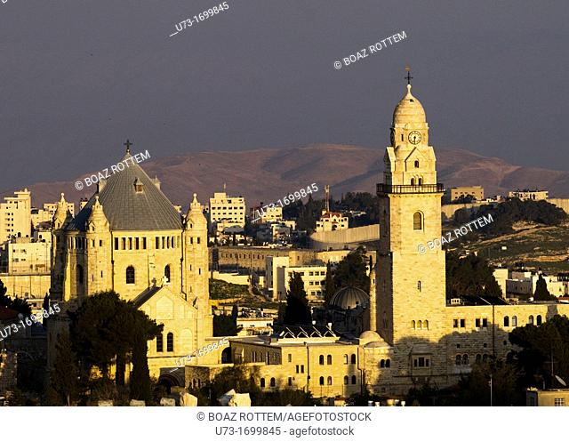 A beautiful view of Mt  Zion and the Dormition abbey with the Judaean desert in the background
