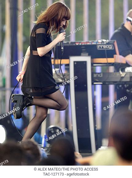 Lauren Mayberry of Chvrches performing at the 2016 MTV Woodie awards at SXSW on March 16, 2016 in Austin, Texas