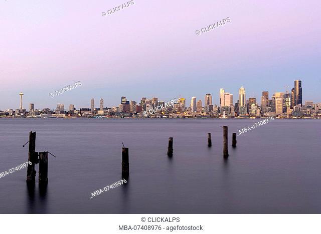 View of Seattle at dusk, Seattle, State of Washington, West coast, USA