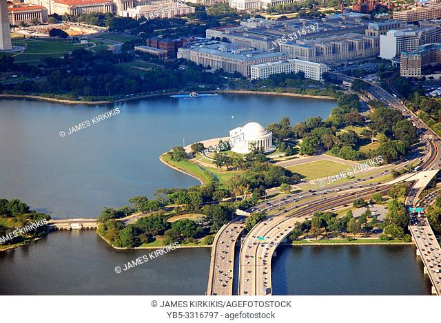 An aerial view of the Jefferson Memorial in Washington DC
