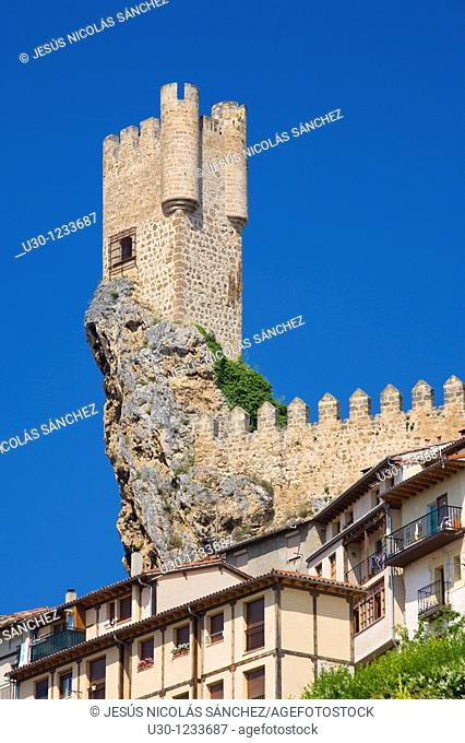 The spectacular tower of Frias castle, above the houses  Las Merindades, Burgos  Spain