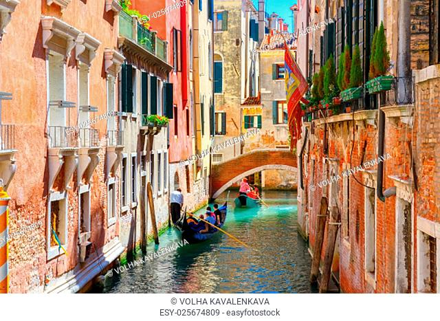 Picturesque view of Gondolas on lateral narrow Canal, Venice, Italy