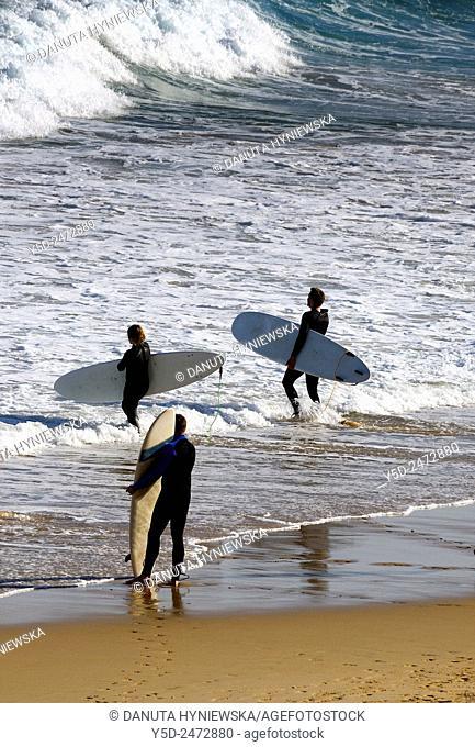 Europe, Portugal, Southern Portugal , Algarve region , Faro district , Sagres, Mareta beach - Praia da Mareta , surfers entering waters of Atlantic Ocean