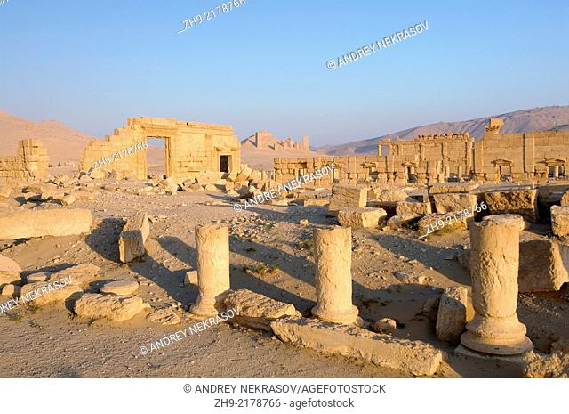 Sunrise over the ruins of the ancient city of Palmyra, Syria