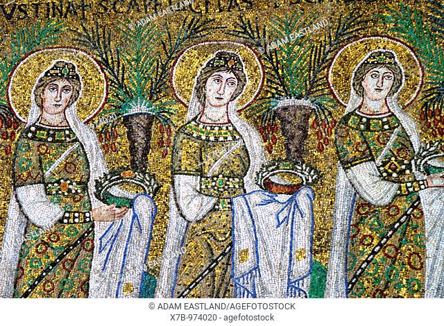 Ravenna, Italy  6th C AD mosaics depicting holy virgins bearing offerings to the Virgin  Basilica di Sant' Apollinare Nuovo