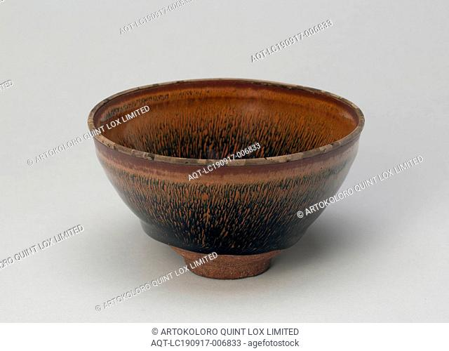 Tea Bowl, Song dynasty (960–1279), 12th century, China, Fujian Province, China, Jian ware, dark-gray stoneware with dark-brown glaze and overglaze hare's fur...